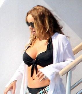 Mariah Carey in Bikini Top on a Yacht in Ibiza