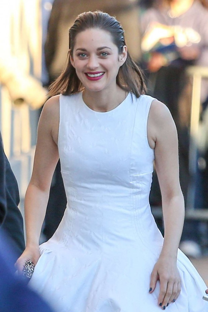 Marion Cotillard in White Dress at Jimmy Kimmel Live in Hollywood