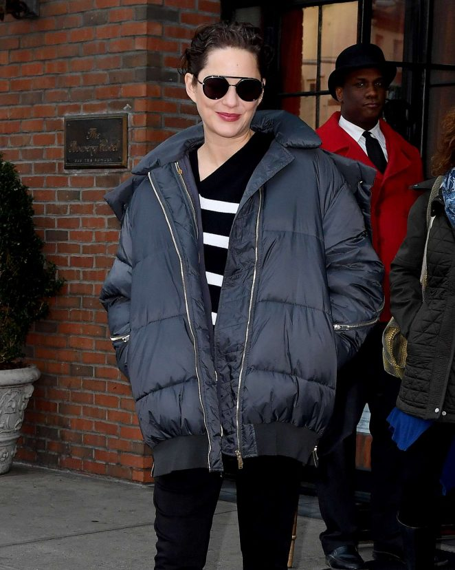 Marion Cotillard in a blue jacket out in New York City