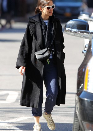 Marion Cotillard in Long Coat Out in NYC