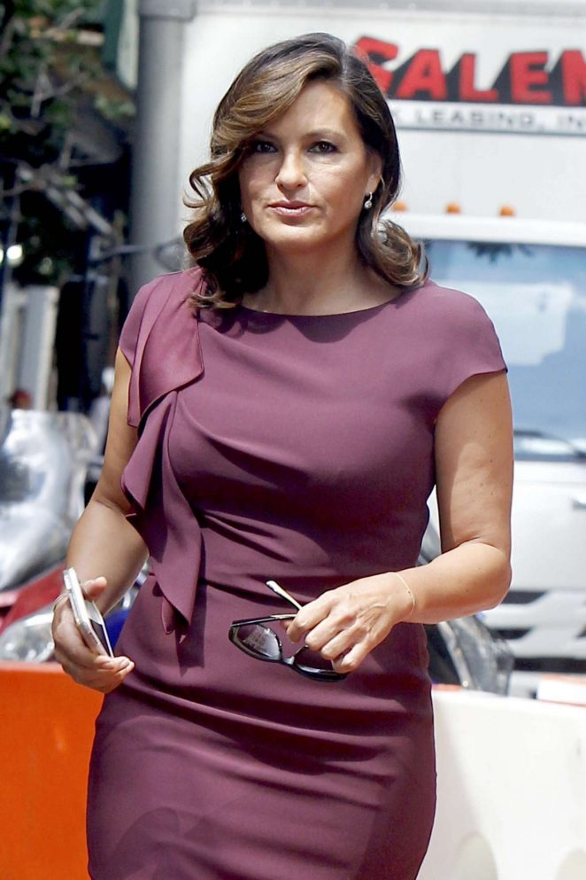 Mariska Hargitay at 'Law and Order' set in NY