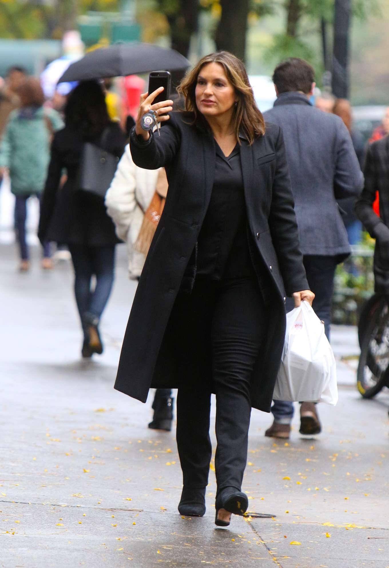 Mariska Hargitay at the 'Law and Order: SVU' set in NYC