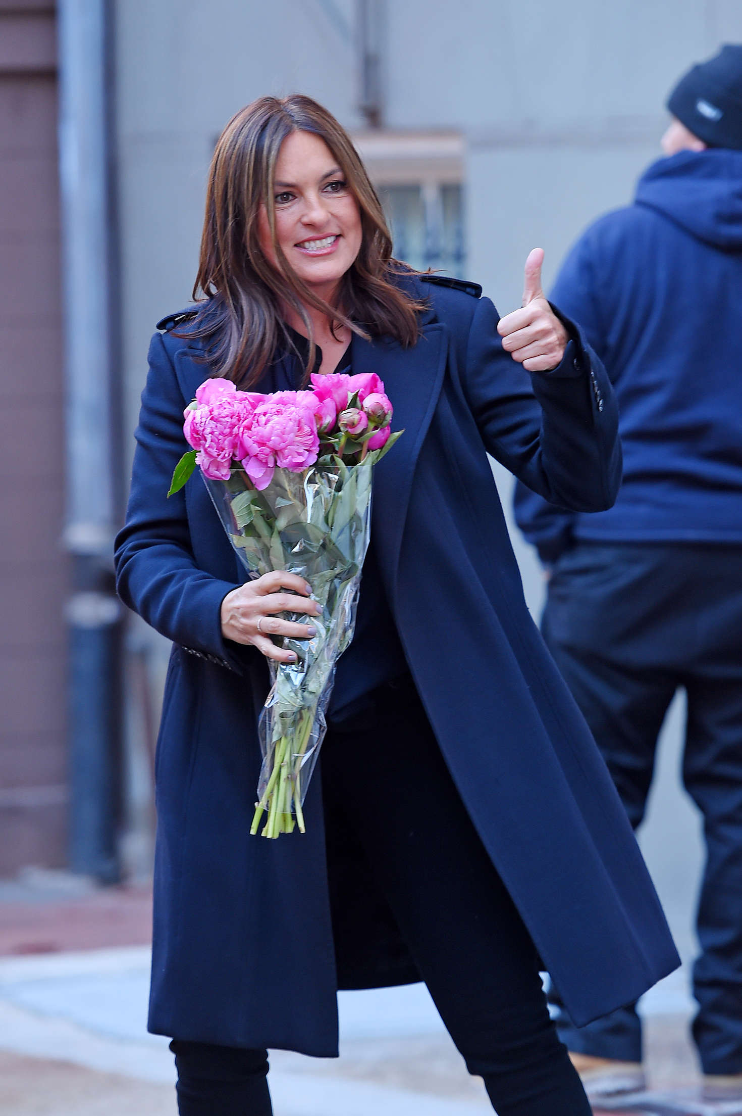 Mariska Hargitayon the set of 'Law & Order: SVU' in NYC