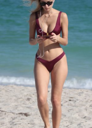 Mariya Melnyk in Bikini on the beach in Miami Beach