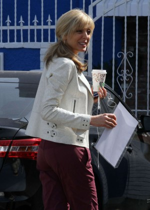 Marla Maples in Red Sweats at DWTS Studio Hollywood