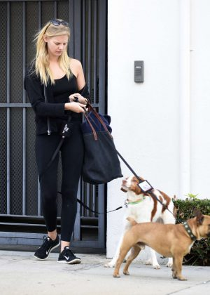 Marloes Horst at Alex Pettyfer house with his dogs in Los Angeles