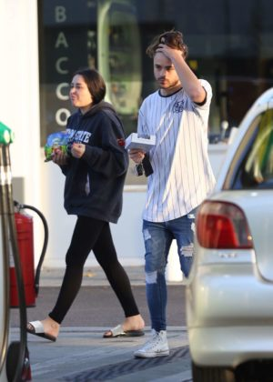 Marnie Simpson and boyfriend Casey Johnson at a petrol station in North London
