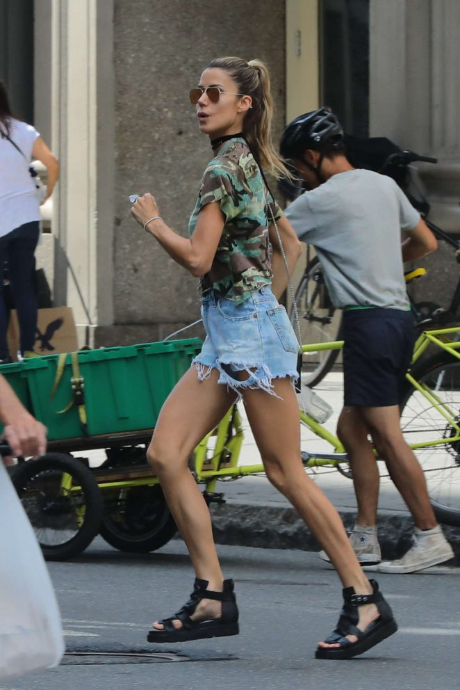 Martha Graeff in Cut-offs out in New York City