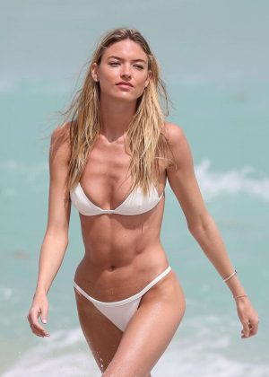 Martha Hunt in a tiny white bikini on Miami Beach