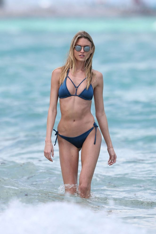 Martha Hunt in Bikini on the beach in Miami