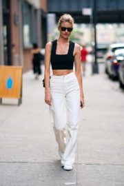 Martha Hunt in Black Top and White Pants - Out in Chelsea in NY