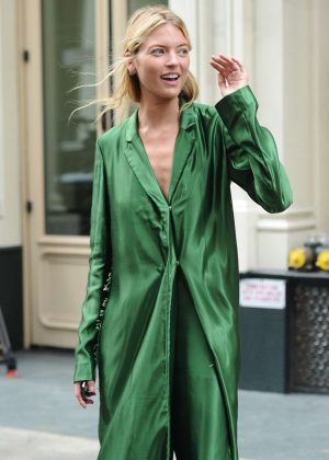 Martha Hunt in Green Outfit - Out at New York Fashion Week in NYC