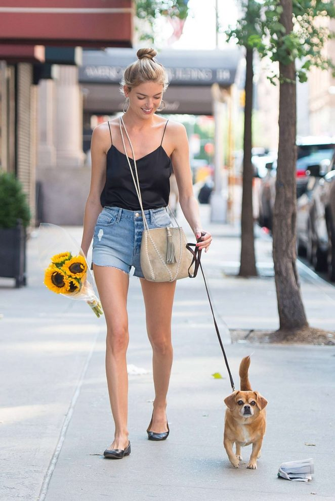 Martha Hunt in Jeans Shorts out in New York City
