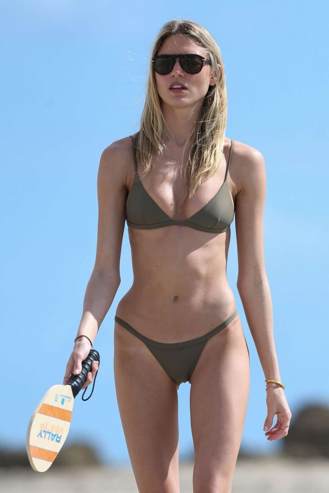 Martha Hunt in olive green bikini on Miami Beach