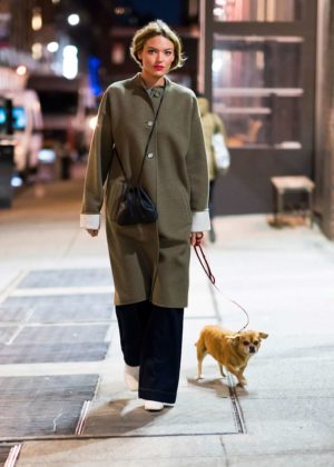 Martha Hunt with her dog out in NYC