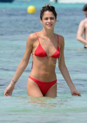 Martina Stoessel ain Bikini on the beach in Formentera