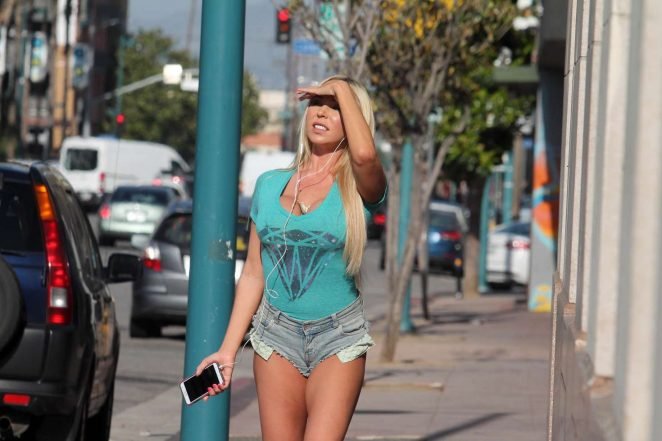 Mary Carey in tiny shorts out shopping in Studio City