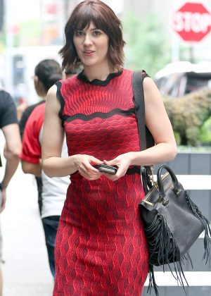 Mary Elizabeth Winstead in Red Dress Out in New York City