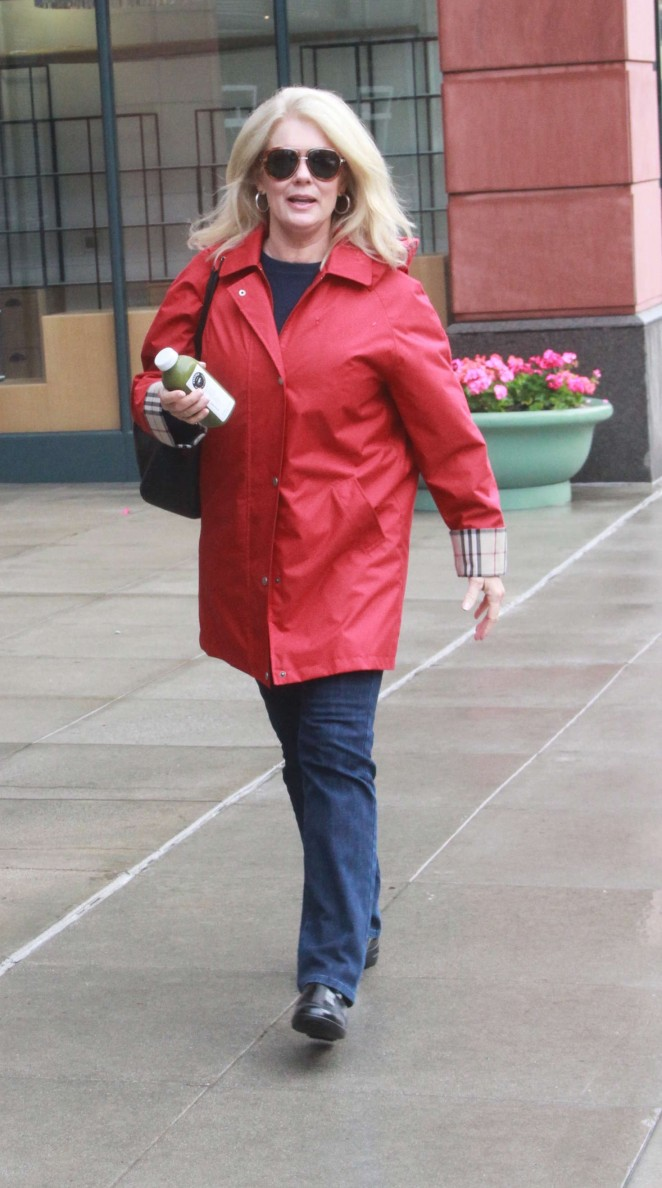 Mary Hart in Red Coat Shopping in Beverly Hills