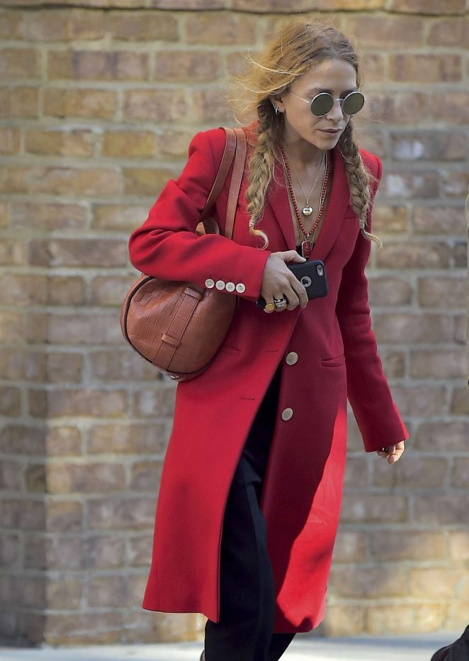 Mary-Kate Olsen in Red Coat out in Tribeca