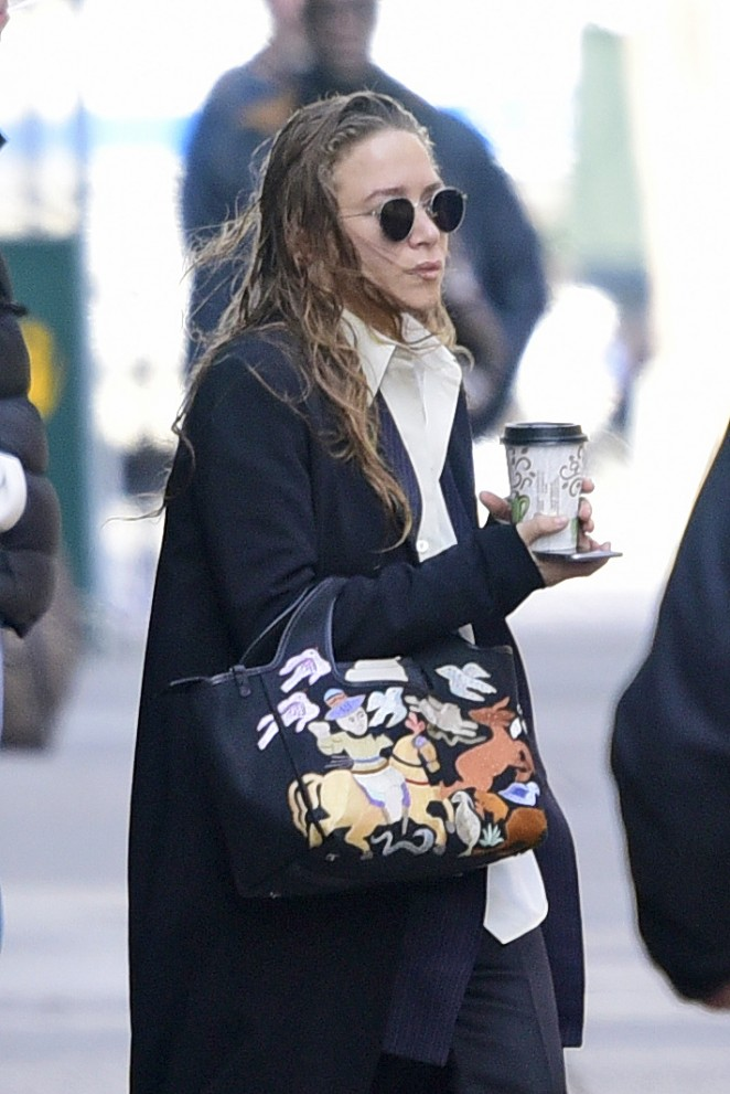 Mary-Kate Olsen with wet hair out in New York