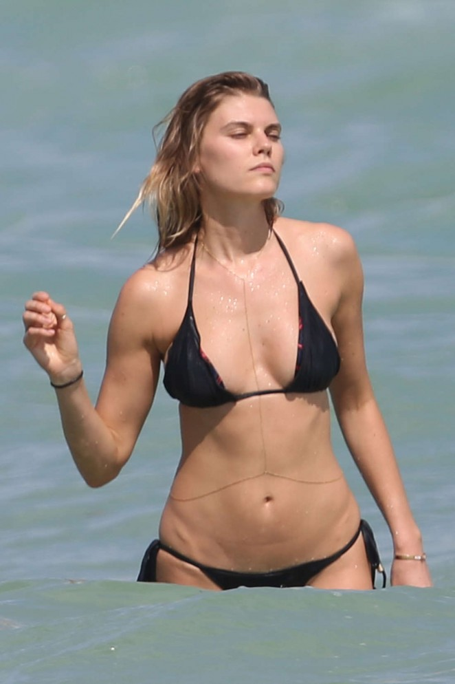 Maryna Linchuk in Black Bikini in Miami