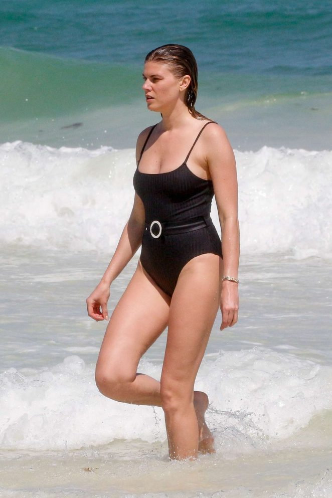 Maryna Linchuk in Black Vintage Swimsuit in Tulum