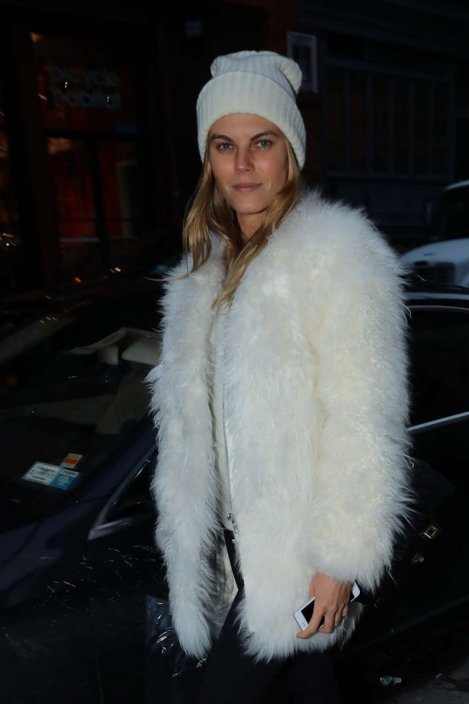 Maryna Linchuk in Fur Coat out in New York