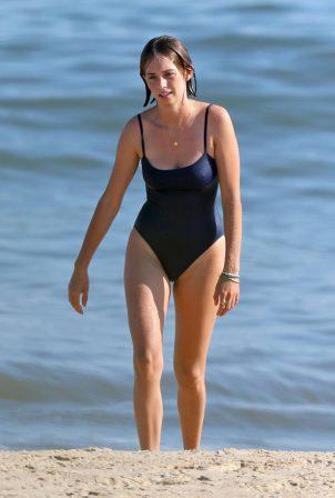 Maya Hawke - In blue bikini on the beach in the Hamptons