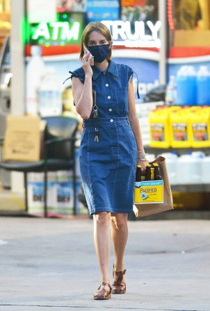 Maya Hawke - Wearing denim dress while out in NYC