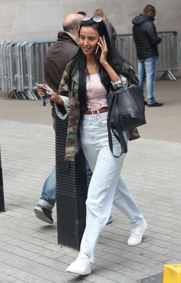 Maya Jama - Exits BBC Studios in London