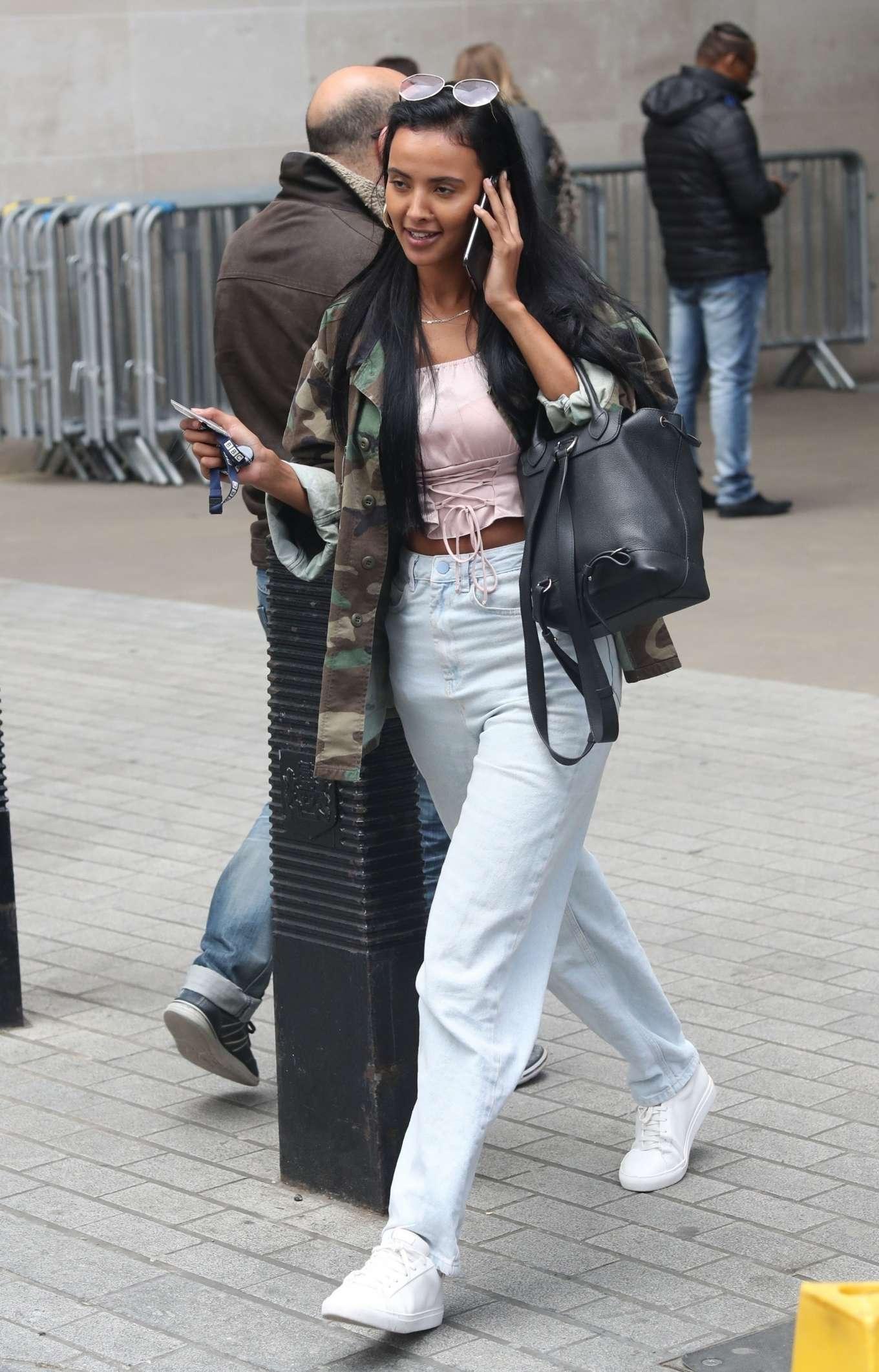 Maya Jama - Exits BBC Studios in London