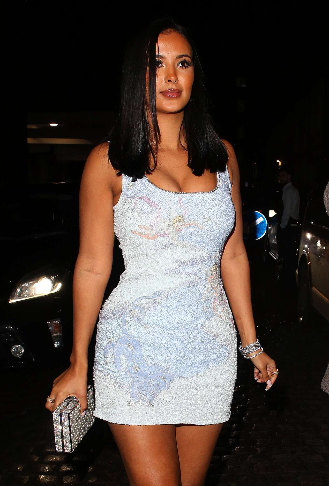 Maya Jama - In a mini dress arriving at 2020 Brit Awards Universal Music After Party in London