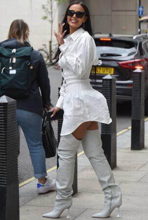 Maya Jama - In all white leaves BBC Radio One in London
