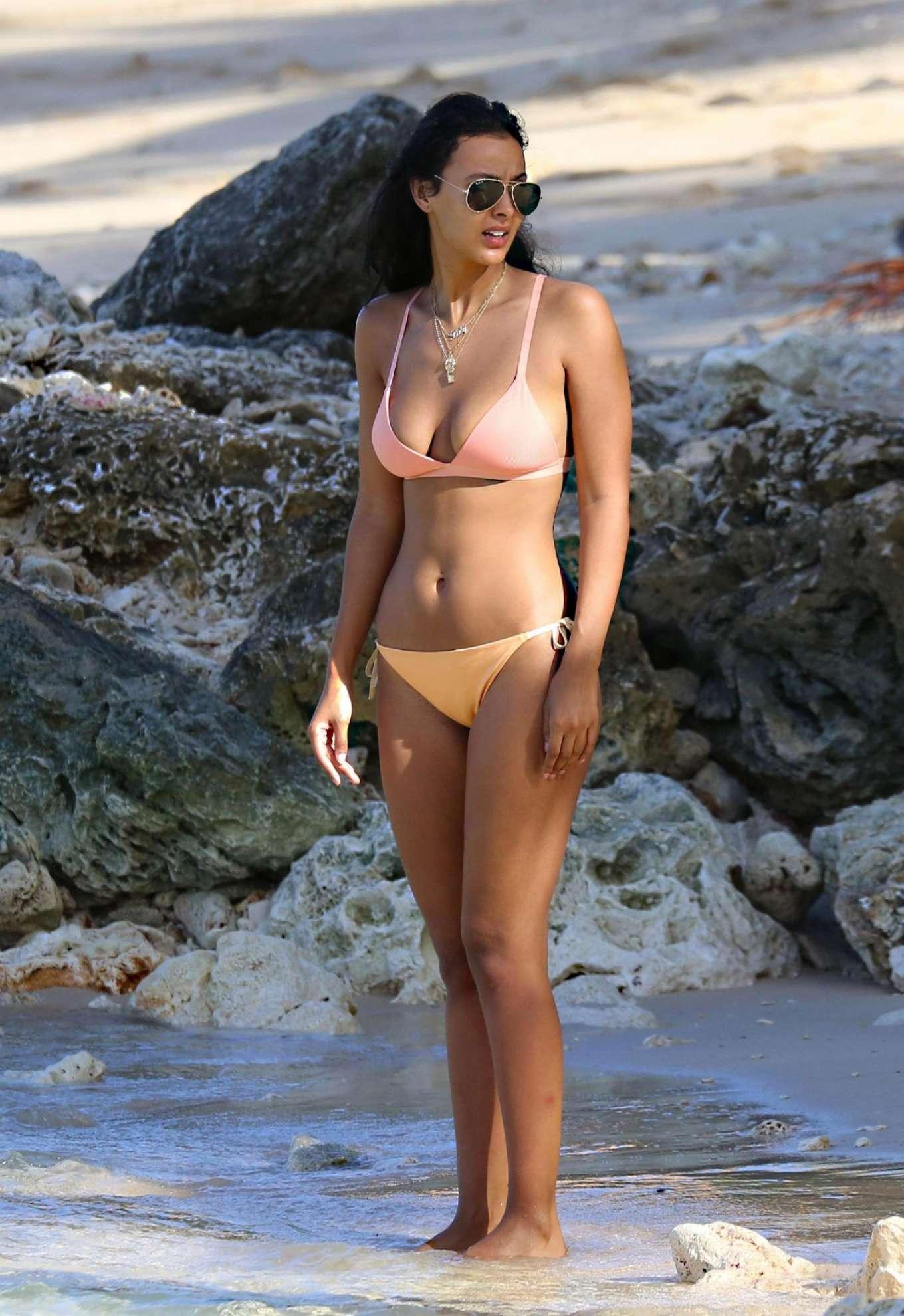 Maya Jama in Pink Bikini on the Beach in Barbados