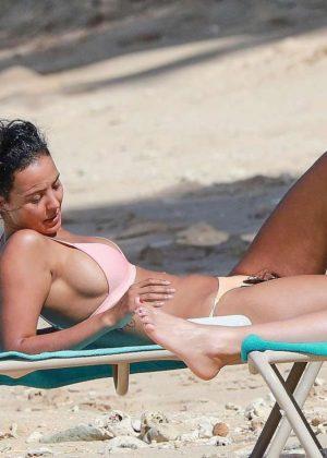 Maya Jama Pink Bikini 03 Beach Barbados