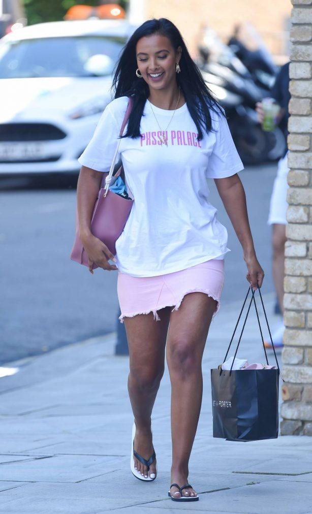 Maya Jama in Pink Mini Skirt - Out in London