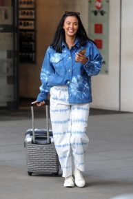 Maya Jama in tie-dye shirt at BBC Radio One Studios in London