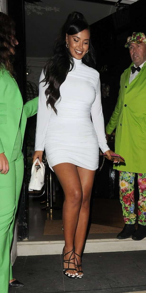 Maya Jama - In tight white dress seen outside Annabel's in London