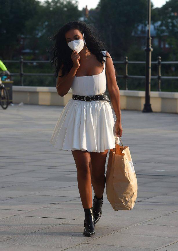 Maya Jama in White Mini Dress - Leaving TV Studios in London