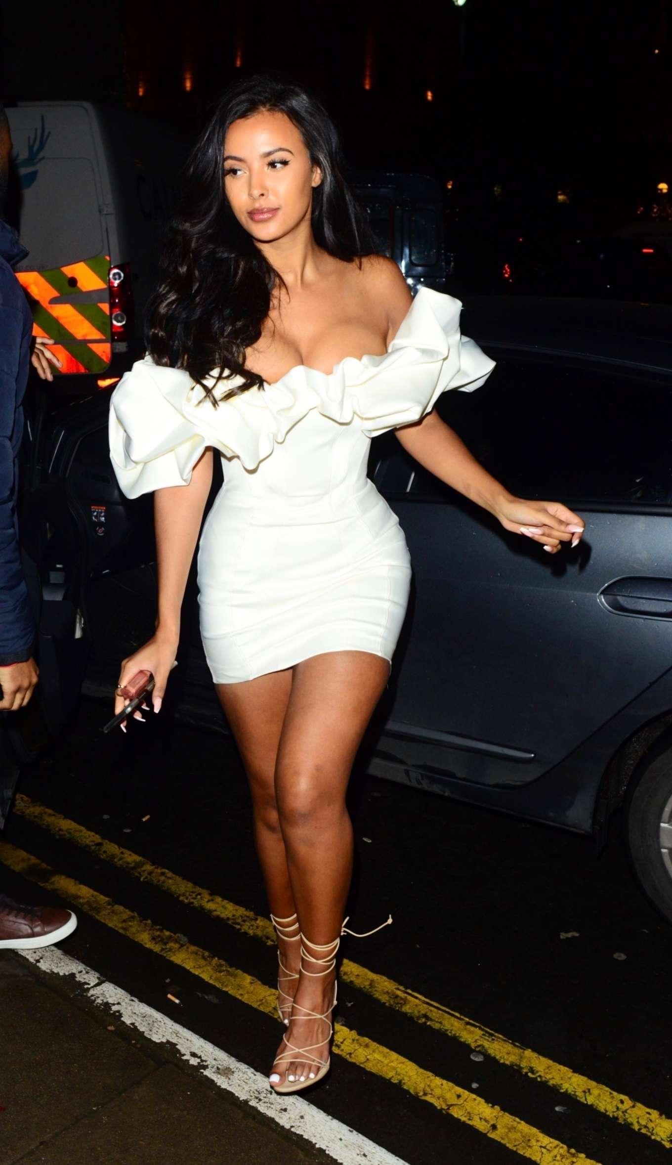 Maya Jama 2019 : Maya Jama in White Mini Dress – Out and about in London-05