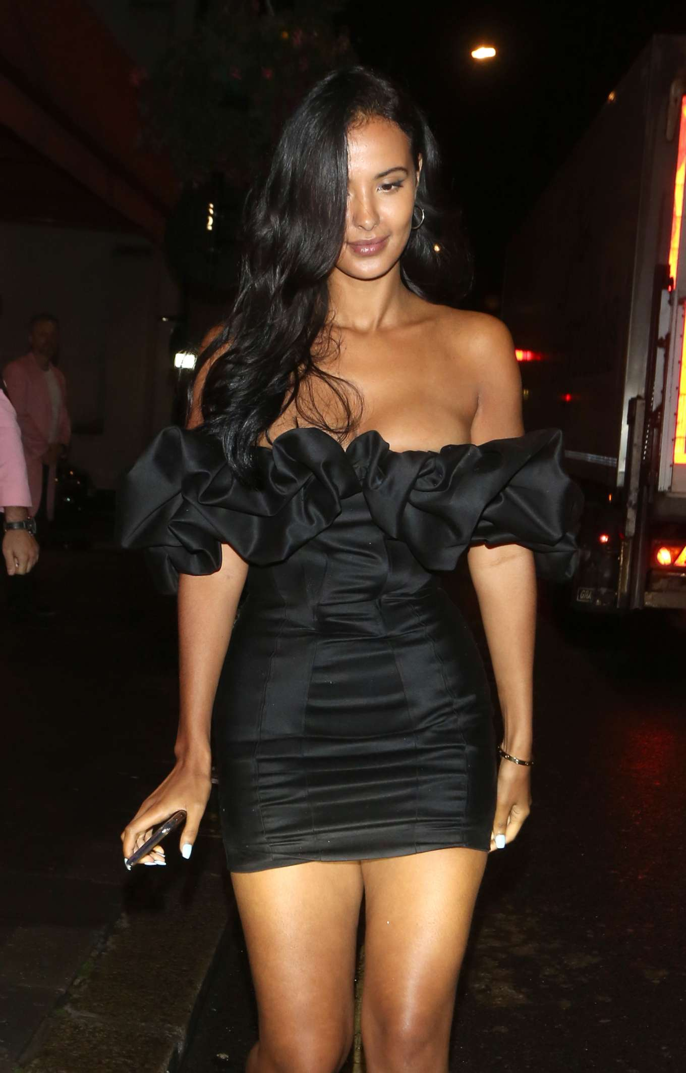 Maya Jama - leaving Fish Restaurant in Mayfair - London