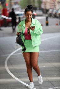 Maya Jama - Spotted in mint-green miniskirt while leaving BBC Radio One