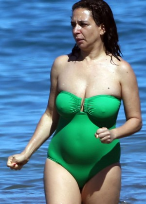 Maya Rudolph in Green Swimsuit in Maui