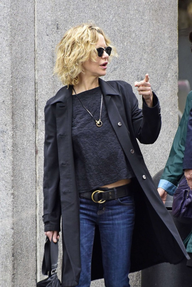 Meg Ryan in Jeans and Black Coat in New York City
