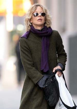 Meg Ryan in Long coat out in New York