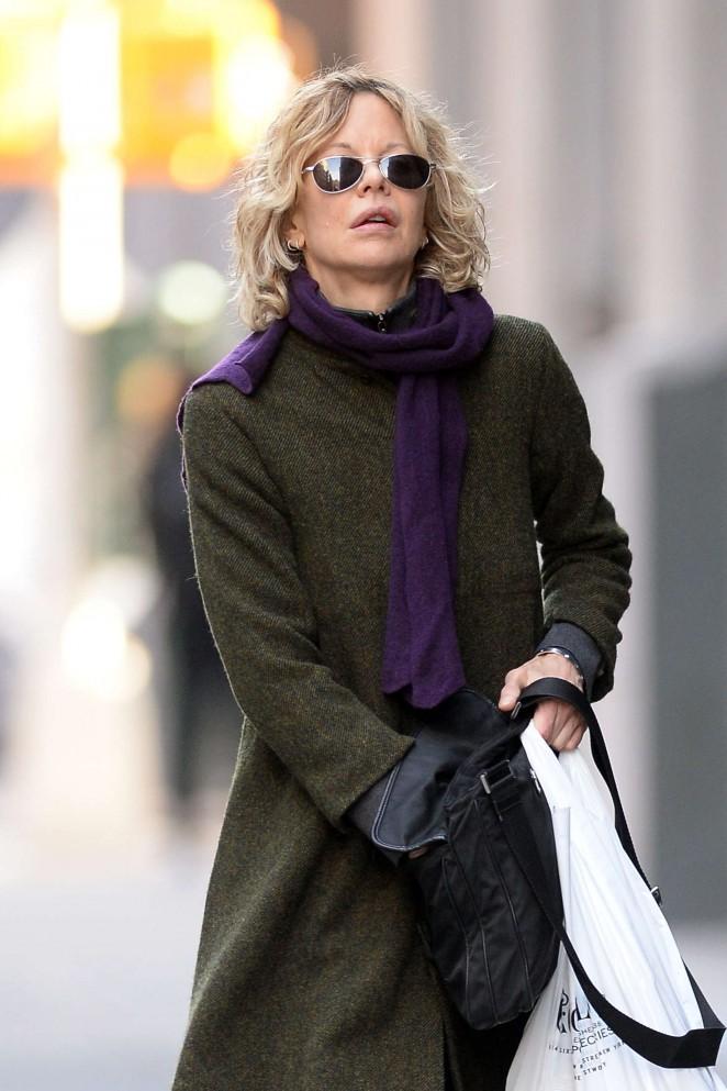 Meg Ryan in Long coat out in New York