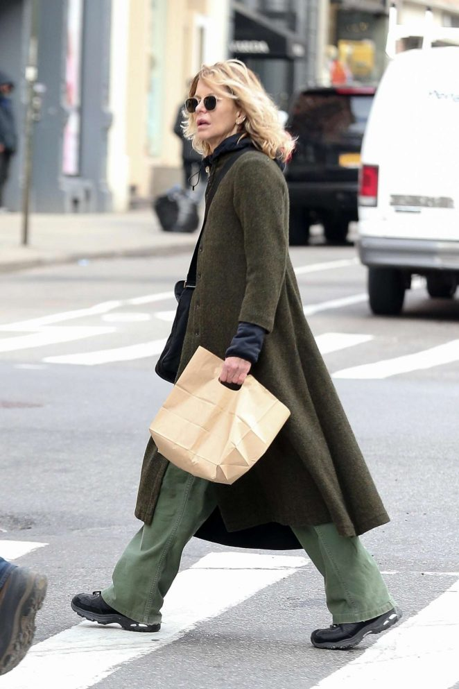 Meg Ryan in Long Coat out in NYC