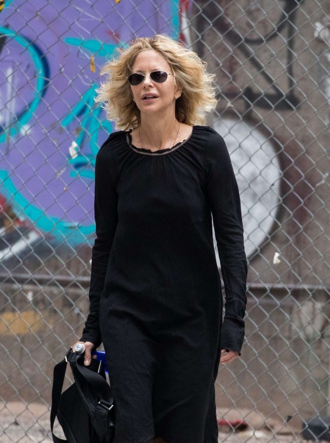 Meg Ryan in Black Dress out in New York City