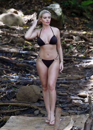 Megan Barton Hanson in Black Bikini in Mauritius
